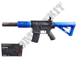 GE2205 BB Gun M4 CQB Replica Spring Powered Airsoft Rifle 2 Tone Blue Black
